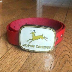 John Deere Tractor Red Leather Belt